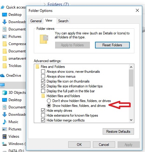 open folder options in windows and view hidden files in windows 8