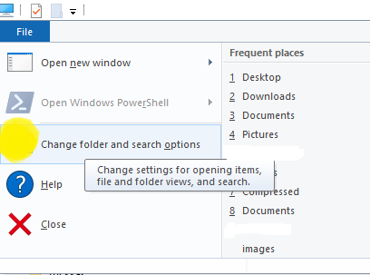 Show hidden files in windows 10 and open folder options or filer explorer options in windows 10