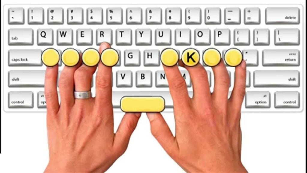 fingers position on keyboard to type faster