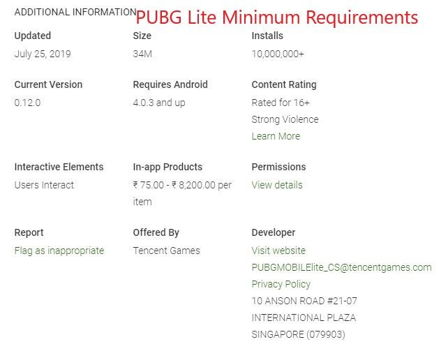 PUBG Lite Requirements to Install in Android Smartphone