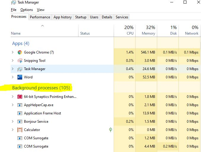disabling background activities in the task manager to avoid computer hanging problems