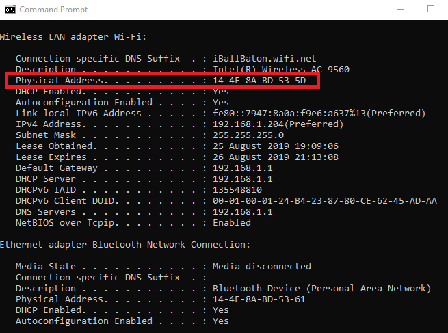find mac address in windows 10 computer using command prompt