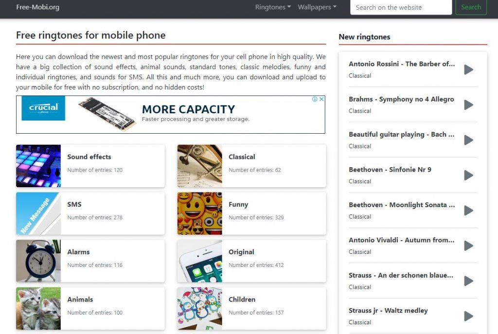 free ringtones download list for mobiles