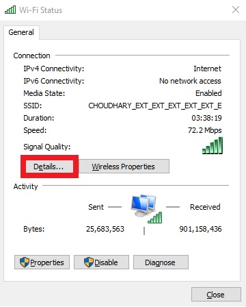 Connected network status with detail button in red box to find mac address of windows computer