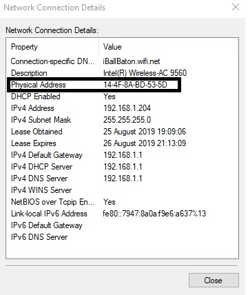 You can find Mac address of Windows 10 computer in front of physical address box in black outline.