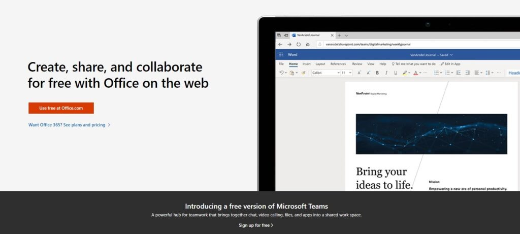 Office Online - Free Alternative To Desktop version of Microsoft Office