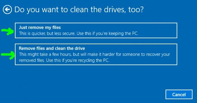 clean windows 10 drives