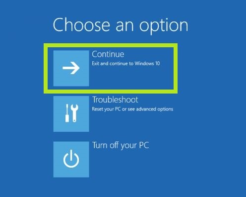 continue reset windows 10