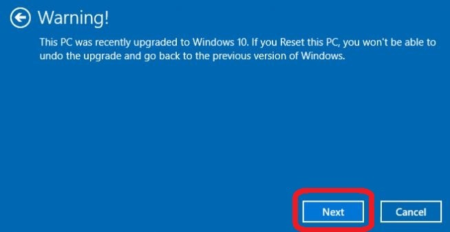 warning before resetting windows