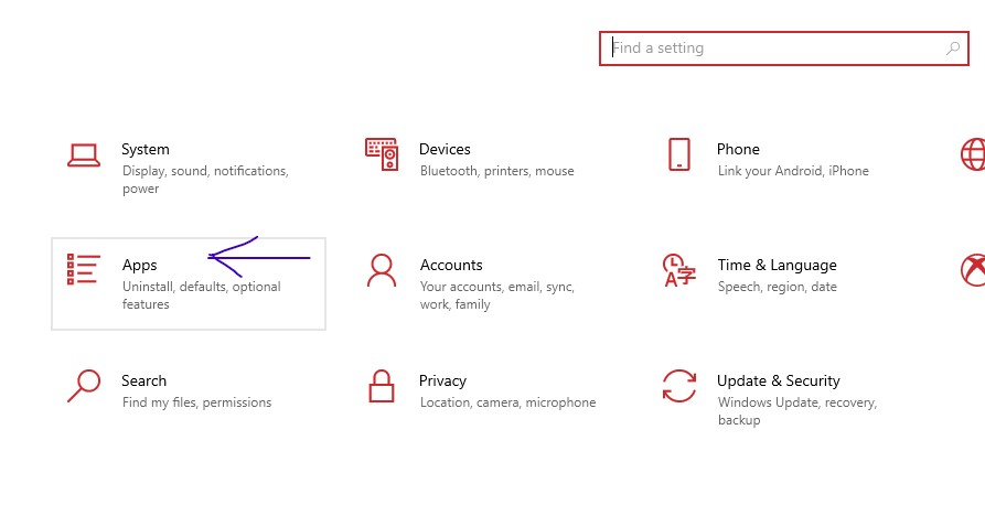 App Settings in Windows 10