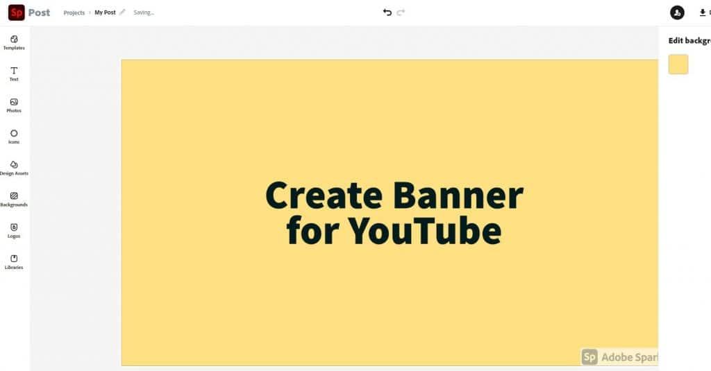 Create Banner for YouTube using Adobe Spark