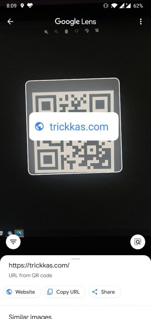 Scan QR code using Google Lens